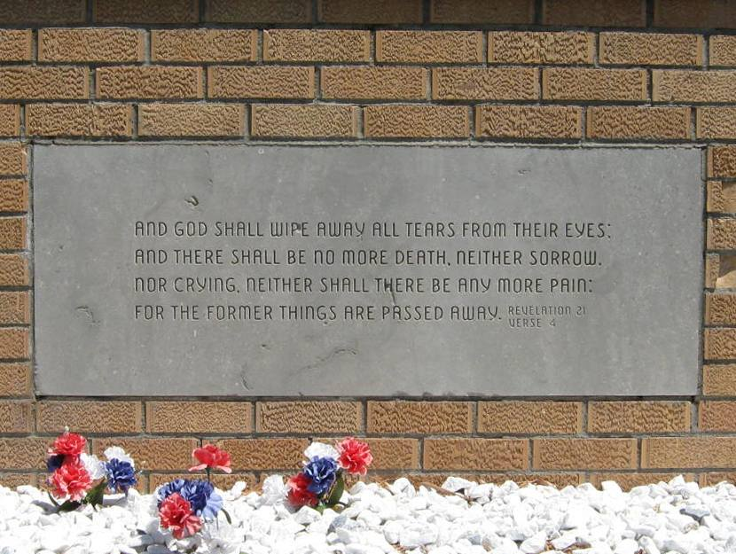 Photo of scripture on pioneer memorial